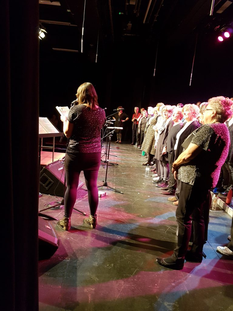 Hullabaloo Community Quire on stage at the Sallis Benney Theatre, Brighton. HullaBe20 celebrations