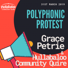 Online ticket for Hullabaloo's Polyphonic Protest concert with folk protest singer Grace Petrie