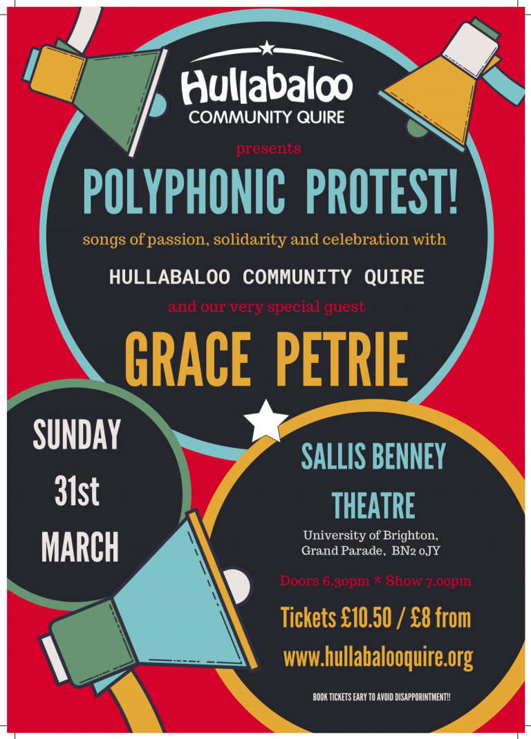 Gig Poster for Polyphonic Protest Concert with Grace Petrie on 31 March 2019